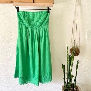 J. Crew spring green strapless cotton dress